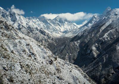 Nuptse Everest and Lhotse from near Namche Bazaar