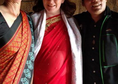Bride with wedding attendees - HGA Women's Trek 2019